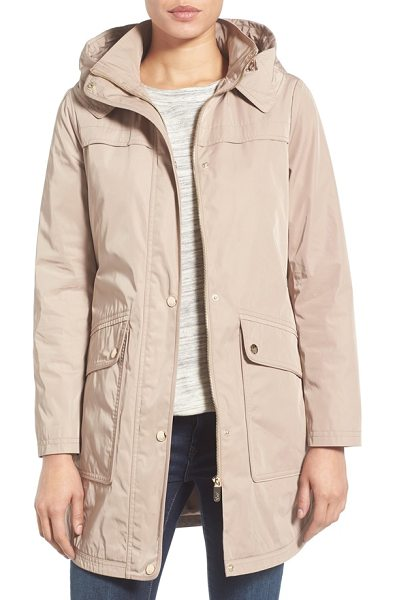 Eliza J water repellent hooded parka in camel - A roomy hood, snap-down storm placket and spacious flap...