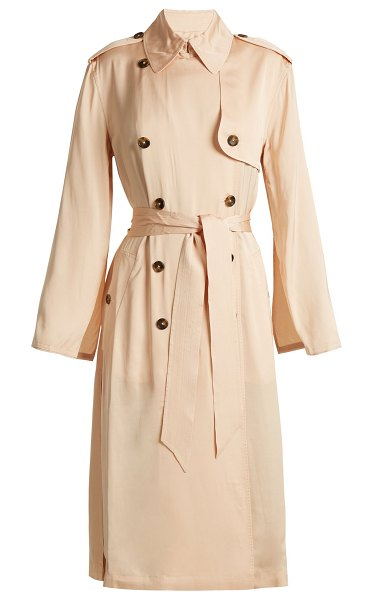Elizabeth and James Aaron Double Breasted Tie Waist Trench Coat in nude