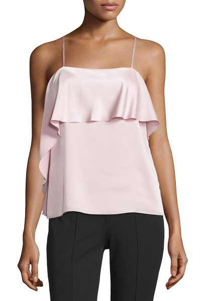 Elizabeth and James Abby Layered Satin Tank in pink-peach - Elizabeth and James satin tank features asymmetric...