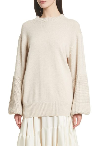 ELIZABETH AND JAMES aida wool & cashmere blend sweater in sand - Billowing balloon sleeves gently pool around the cuffs...