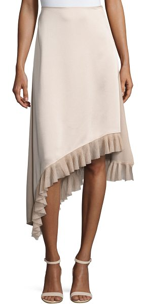"Elizabeth and James Ailie Asymmetric Satin Midi Skirt in nude - Elizabeth and James ""Ailie"" midi skirt in satin...."
