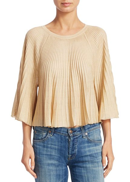 Elizabeth and James amil pleated knit top in gold - Pleated knit top with metallic detailing. Roundneck....