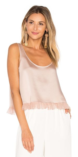 ELIZABETH AND JAMES Andrea Crop Top - Poly blend. Dry clean only. Ruffle trimmed hem....