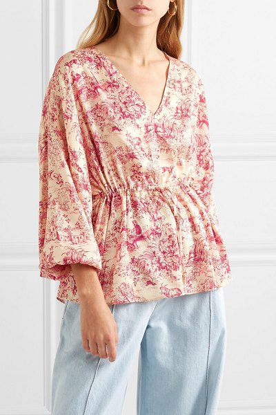 Elizabeth and James angela printed twill blouse in sand - Elizabeth and James' blouse is patterned with an...