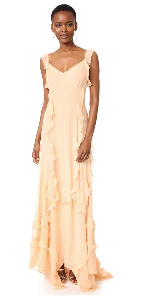 Elizabeth and James catherine ruffle gown in biscuit - Tiered ruffles and a swingy handkerchief hem lend gentle...