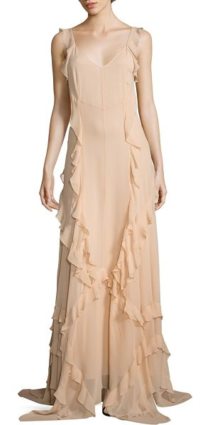 Elizabeth and James catherine ruffle silk gown in biscuit - Fluid silk gown detailed with cascading ruffle trims....