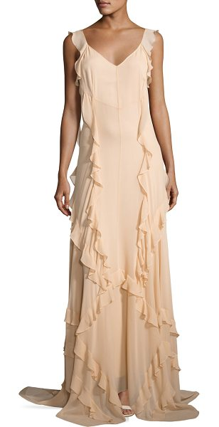 "Elizabeth and James Catherine Sleeveless Silk Ruffle Gown in eggshell - Elizabeth and James ""Catherine"" silk gown, featuring..."