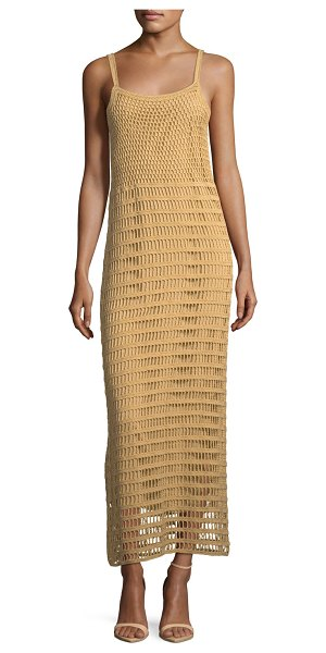 "Elizabeth and James Edna Hand-Crochet Long Sleeveless Dress in brown - Elizabeth and James ""Edna"" hand-crochet dress. Scoop..."
