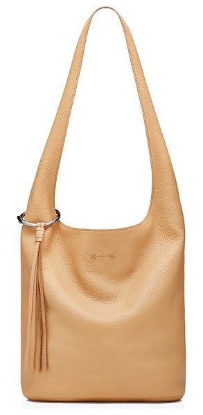 Elizabeth and James Elizabeth and James Finley Courier Pebbled Leather Hobo in natural/silver - Elizabeth and James Finley Courier Pebbled Leather Hobo-Handbags
