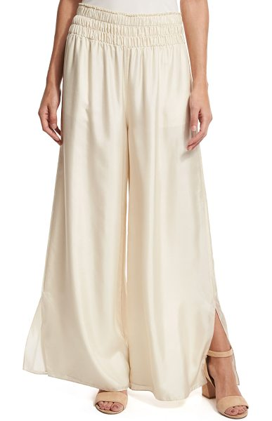 "Elizabeth and James Elton Wide-Leg Stretch Satin Pants in cream - Elizabeth and James ""Elton"" pants in stretch satin...."