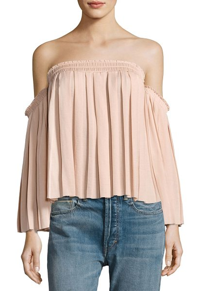"""Elizabeth and James Emelyn Off-the-Shoulder Pleated Top in light beige - Elizabeth and James """"Emelyn"""" top with allover..."""