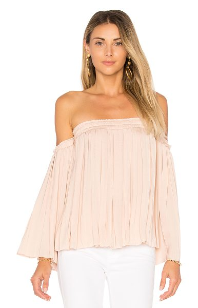 Elizabeth and James Emelyn Pleated Top in beige - 100% poly. Dry clean only. Smocked elastic neckline and...