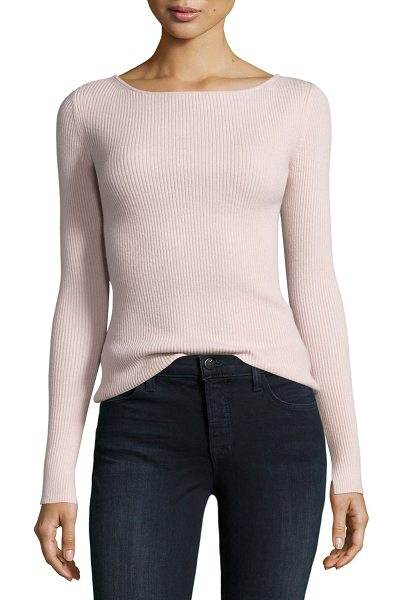 "Elizabeth and James Fay Long-Sleeve Ribbed Tie-Back Top in pale pink - Elizabeth and James ""Fay"" ribbed top in wool blend...."