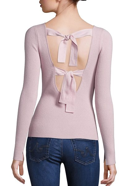 Elizabeth and James fay tie back sweater in pale pink - Ribbed sweater updated with dual back tie closure....