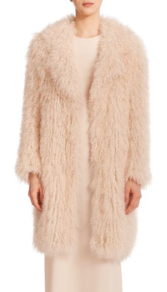 Elizabeth and James Hart fur jacket in nude - Shaggy lamb's fur shapes this luxurious topper, cut with...