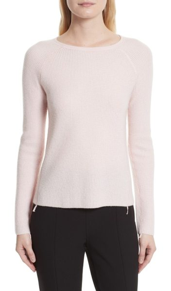 Elizabeth and James karina waffle knit cashmere sweater in ballet - The traditional waffle-textured, thermal-knit top gets a...