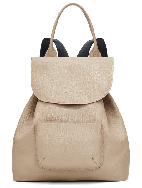 Elizabeth and James 'langley' pebbled leather backpack in bone - A curvy flap tops a slouchy drawstring backpack crafted...
