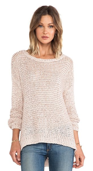 Elizabeth and James Lattice boxy pullover in beige - Acrylic blend. Rib knit edges. Side seam slits....
