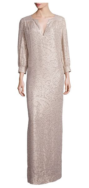 Elizabeth and James melaney metallic jacquard caftan gown in champagne - Shimmering jacquard caftan gown in paisley motif....