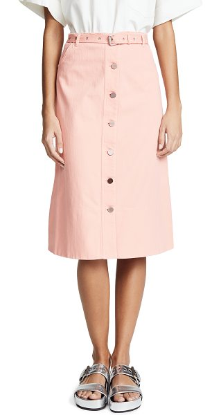 Elizabeth and James merritt skirt in peach nectar - Fabric: Denim Unfinished waist Midi length Button at fly...