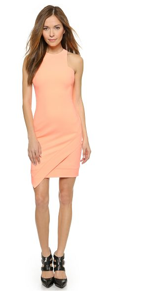 Elizabeth and James New claire dress in neon peach - A fold over panel lends an asymmetrical drape to the...