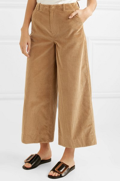 Elizabeth and James oakley cropped cotton-corduroy wide-leg pants in camel
