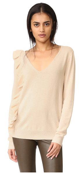 Elizabeth and James odell ruffle long sleeve sweater in champagne - A gathered ruffle lends a touch of asymmetry to this...