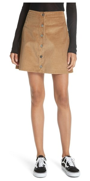 Elizabeth and James prewit corduroy skirt in beige - An earthy corduroy A-line skirt styled with polished...