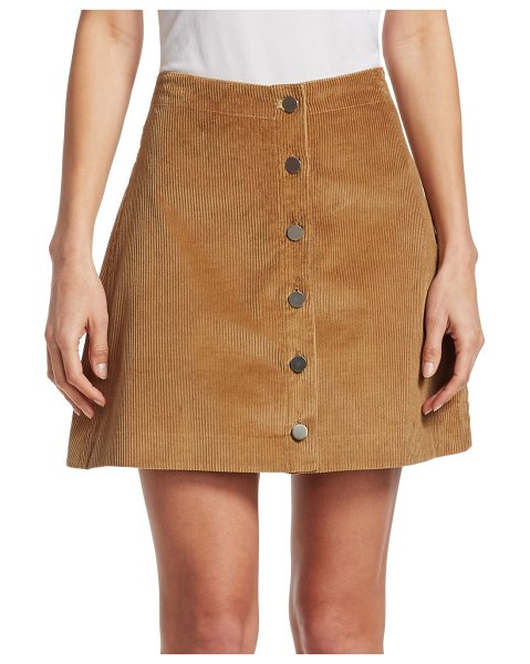 Elizabeth and James pruitt mini corduroy skirt in camel - A-line button-front mini skirt in corduroy. Banded...