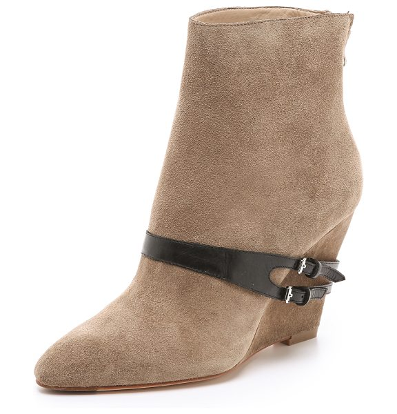 ELIZABETH AND JAMES Reily suede wedge booties - A contrast leather strap wraps around the instep and...