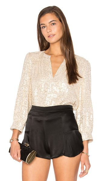 Elizabeth and James Shelly Top in metallic gold - Shell: 65% silk 35% metallic Lining: 100% poly. Dry...