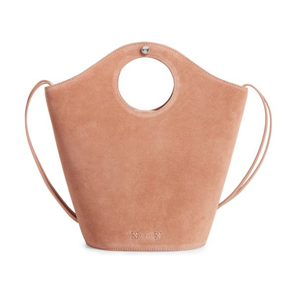 Elizabeth and James small market suede shopper in nude - Circular cutouts form the integrated handles of a...