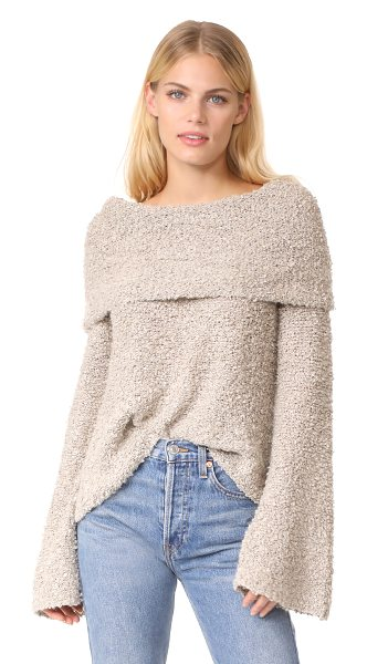 Elizabeth and James sophie slouchy neck pullover in natural - This open-knit Elizabeth and James sweater has a slouchy...