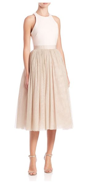 Elizabeth and James Sparkle aneko fit-&-flare tulle dress in pinksand-champagne - Shimmery tulle overlays elegant fit-and-flare....