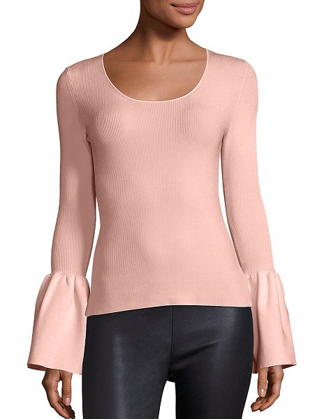 Elizabeth and James willow bell sleeve ribbed top in blush - EXCLUSIVELY AT SAKS FIFTH AVENUE IN IVORY. Rib-knit...