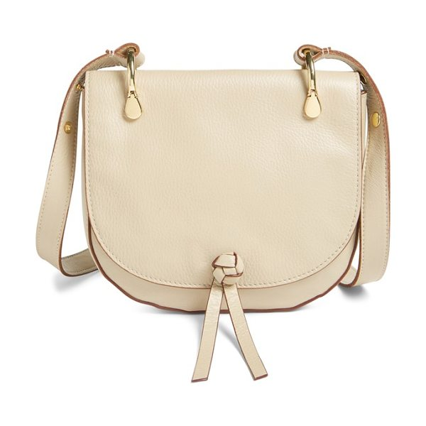 Elizabeth and James 'zoe' leather saddle bag in bone - An elegant knot fronts the curvy flap of a cool, casual...