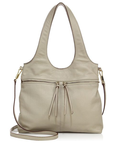 Elizabeth and James zoe small leather carryall tote in bone - Distinctive silhouette shaped from pebbled leather....
