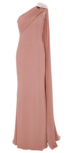 ELIZABETH KENNEDY One Shoulder Gown With Flowers And Draping Detail in pink - This *Elizabeth Kennedy* gown features one shoulder with...