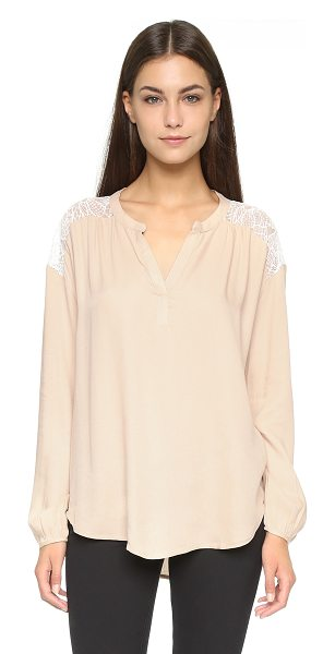 Ella Moss Amara lace placket blouse in shell - A panel of lace at the back adds a feminine touch to...