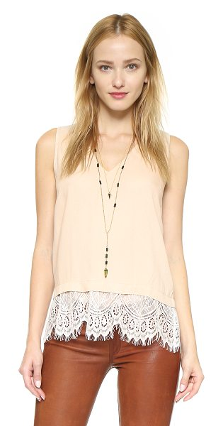Ella Moss Amara lace tank in shell - A classic tank trimmed in pretty lace. Deep V neckline....