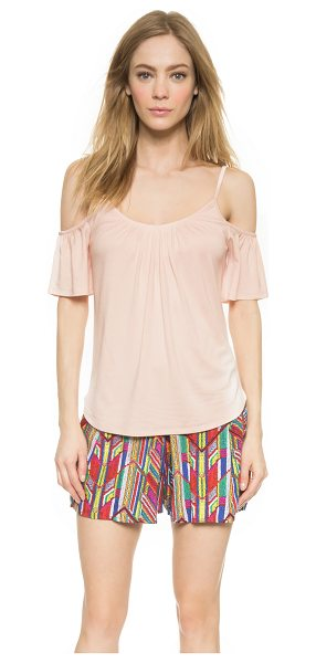 Ella Moss Bella cold shoulder tee in shell pink - Slim straps frame the neckline and cutout shoulders on...