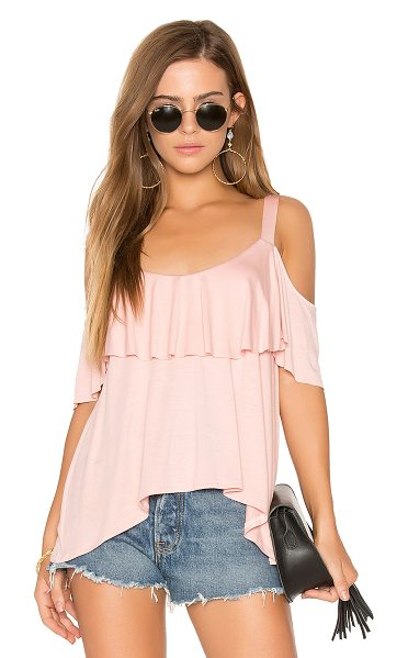 Ella Moss Bella Cold Shoulder Top in pink - Modal blend. Hand wash cold. Draped ruffle overlay....
