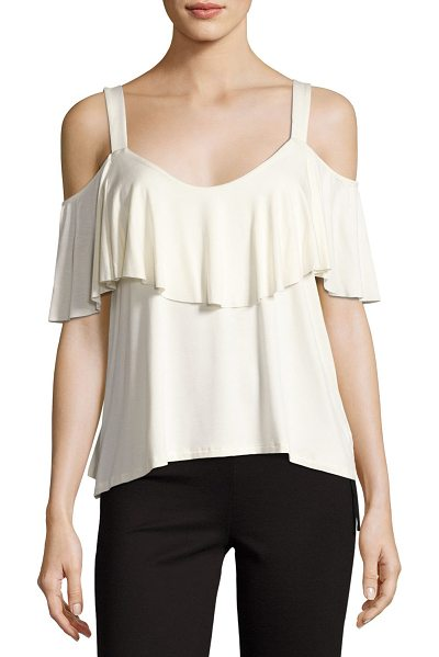 "Ella Moss Bella Envelope Cold-Shoulder Top in beige - Ella Moss ""Bella Envelope"" top in stretch jersey. Scoop..."