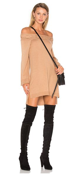 Ella Moss Blinda Sweater Dress in tan - 35% viscose 30% nylon 30% wool 5% cashmere. Dry clean...