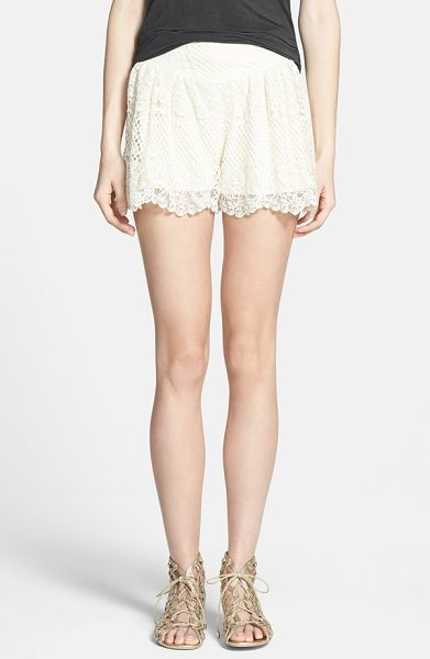 Ella Moss carole lace shorts in natural - Cascading scallops detail the hems of high-waisted...