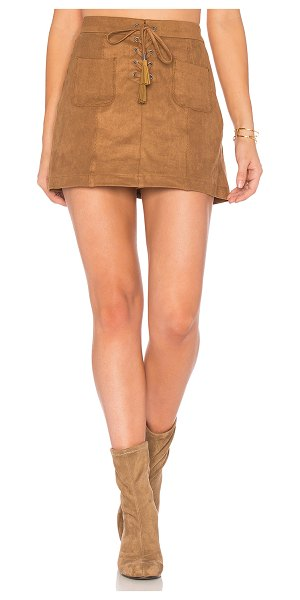 ELLA MOSS Connelly Faux Suede Skirt in cognac - Self: & Contrast: 90% poly 10% spandexContrast: 100%...