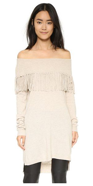 ELLA MOSS Day dreamer tunic sweater in oatmeal - Fringe accents the cowl neckline of this lightweight...