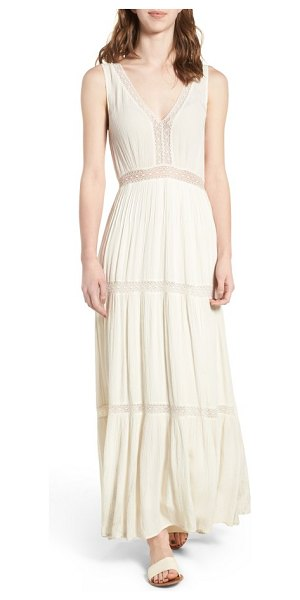 Ella Moss katella lace inset maxi dress in natural - Sheer lace insets keep this flattering, vacay-ready maxi...