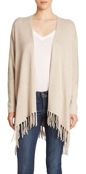 Ella Moss kenya fringe cardigan in oatmeal - The relaxed silhouette of this open-front cardigan is...