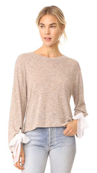 Ella Moss nicolette top in heather camel - This lightweight Ella Moss sweater has chiffon ribbons...